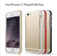 Pour iphone 7 6 6s plus 5S Hybrid Metal CASE Pare-chocs de châssis en aluminium Soft Transparent Transparent TPU cover case