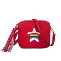 beach camel - Star Rainbow Flap bag summer beach Famous brand fashion PU leather women handbag Bow ladies shoulder bag Party Messenger