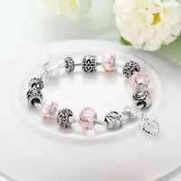 antique brass lobster clasp - Antique Silver Charm Bangle Bracelet with Love and Flower Crystal Ball Women Wedding Valentine s Day Gift PA1455