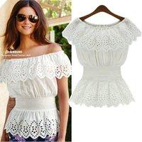 Wholesale Fashion Womens Clothing Cotton Blouses Collar Slash Sleeve Shirts Elastic Waist Tops Plus Size Blouses Shirts