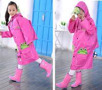 big boys raincoat - big wide brim children raincoat the boy girl suit Han edition students in school bag baby poncho can match rainshoes
