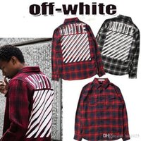 Wholesale ashion Off White Virgil Abloh Autumn Winter Plaid casual Shirts Men Hip Hop Flannel Cotton Shirt Off White Virgil Abloh