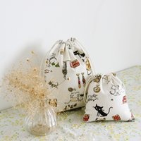 bag pet shop - Good Quaility Student Fashion Shopping Pet Cat Pattern Cute Bag Drawstring Canvas Cotton Personality Simple Handbag New