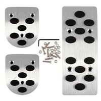 Wholesale Auto Manual Car Gas Brake Metal Pedal Non Slip Covers Aluminium Alloy MT Pedals Pads Silver Tone Black