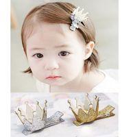 Hairpins artificial gemstones - Gold Silver Fashion Glitter Crown with Gemstone Baby Girls Hairpins Solid Tiaras Hair Clips Girls Hair Accessories