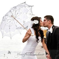 Wholesale DHL Fedex Free New Lace Umbrella Cotton Embroidery Wooden handle Lace Parasol Umbrella Bridal Wedding Umbrella Decorations L78 Z