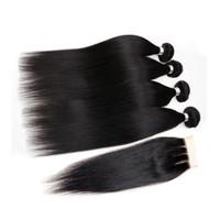 Wholesale 10A Malaysian Straight Hair With Closure Bundles With Closures Cheap Human Hair With Closure Straight Mocha Hair Weave
