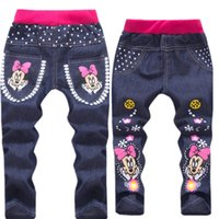 Wholesale Baby Girl Clothing Cartoon Pattern Mickey Clothes Kids Jeans Children boy Pants Summer Casual Denim Pants Jeans