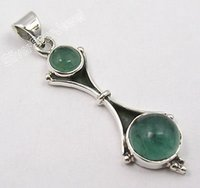 Wholesale Silver Classic GREEN APATITE Gem CHARMING Pendant CM NEW