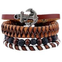 Hommes Retro Bracelets Suit 4 pcs / set Bracelet en cuir torsadé fait main de bricolage avec des accessoires en bois d'ancre de perles de pierre Livraison gratuite