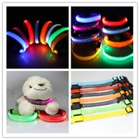 Wholesale Adjustable Transparent Dog Collar Pet Dog Highly Visible LED Collars Safety Collar Flashing Lighted Collar Multi colors JF048