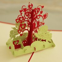 Wholesale Cards For Wishing Tree - (10 pieces lot) Creative Kirigami & Origami Card Handmade 3D Pop Up Wishing Tree Greeting Cards for Lovers Free Shipping