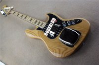Wholesale 1974 Reissue JazzBass Strings Natual Electric Bass Guitar Ash Body Maple Neck Fingerboard Black Block Position Markers Pickups Covers