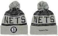 basketball protection net - newest Brooklyn beanies Hot Sale Cotton Knit Basketball Team net Pom Pom Beanies Hat Striped Cuff Winter Hats For Men football Skullies