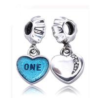 Acheter Coeurs bleus-Pendentif en argent en forme de coeur avec un zircon clair et un émail bleu Un amour Pendentif en argent Perles Fit Pandora Bracelet Real S925 Bijoux en argent