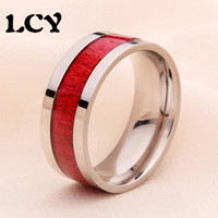 Wholesale 8mm Titanium Steel Fashion Ring Inlaid Red Wood L Environmental Protection Vintage Women Mens Jewelry Wedding Band Anillos