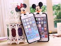 al por mayor muñecas lindas del ratón-Cajas del teléfono para el iPhone 6 6s 7 más el 5 5s SE Cute 3D Couche suave Couque de la cubierta del caso de la historieta de la muñeca de la puntada del ratón de minnie / mickey para iPhone5s