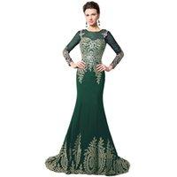 Precio de Novias musulmanes vestidos simples-207 Vestidos de noche musulmanes de oro de alta calidad de largo Appliques madre de la sirena de la novia Vestido formal africano Kaftan XU040