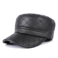 age ears - New Arrival Winter Hat Male Military Style Cap With Ear Flaps Thermal Flat Top Caps for Middle Aged Elder Men Black YH0300