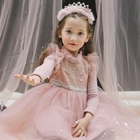 Wholesale Children dress beauty girls winter dress baby new year plus velvet thick warm Princess Dress