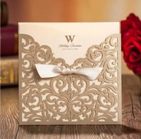 Wholesale Laser Cut Flower Wedding Invitation Cards Personalized Gold Hollow Wedding Party Printable Invitation Cards Ribbon with Envelope Sealed Card