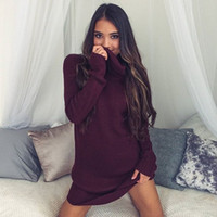 Wholesale 2016 Fashion Womens Cilothes Knitted Turtleneck Sweater Dress High Striped Pullover Long Sleeve Sweater Winter Newest S M L XL QP106