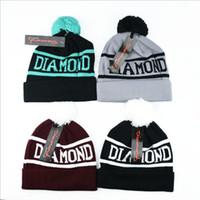 baseball crochet - Knitted Beanie Hat Unisex Handmade Diamond Supply Co Beanie Crochet Wool Beanie Street Baseball Hip Hop Hat Cap Warm Winter Skull Caps F111