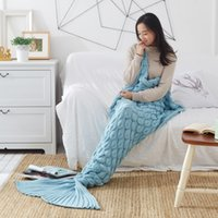 bedspread cotton thread - 90x190cm adult children Quilt Mermaid tail blanket fleece throw plush plaid On sofa Bed fluffy bedspread cover bed knit mermaid blanket