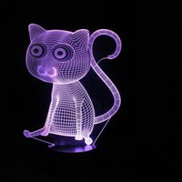 agradable al por mayor al por mayor-Venta al por mayor- Enjoyable 3D Resumen Big Cat Noche luces LED lámpara de mesa como decoración del hogar