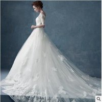Wholesale The bride wedding dress a word shoulder cultivate one s morality Han edition of bud silk long sleeve to big tail wedding dress