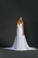 Wholesale 2017 Gorgeous A Line Chiffon and Lace Wedding Dresses Backless V Neck Bridal Gowns with Spaghetti Straps