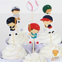 Paperboard baby shower baseball - Baseball Sport boys candy bar cupcake toppers pick baby shower kids birthday party supplies