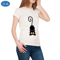 Wholesale Cat Lady T Shirt - Summert Funny Camisetas Mujer Black Cat Print Tshirt Women Tops Harajuku Loose T-Shirt Lady White T shirt Female Tees Sea mao