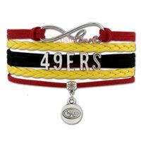 Wholesale Custom Infinity Love ers Football Team Wrap Bracelet Sport Red Gold Black Custom Suede Leather Sports Bracelet Dropship