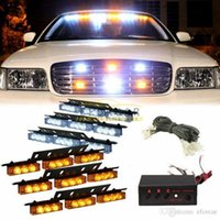 Wholesale New hot LED Car Truck Strobe Emergency Warning Light for Deck Dash Grill White Amber