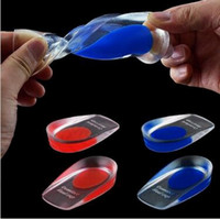 Wholesale 2 Colors Silicone Gel Insoles Heel Pad Foot Care Cups Calcaneal Spur Elastic Care Half Insole Shoe Inserts CCA5530
