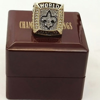 Wholesale New Design Orleans Saint Championship Ring Zinc Alloy world Championship Ring With Wooden Box