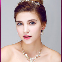 Wholesale New Arrival Crystals Jewelry Sets Wedding Ceremony Handmade Crown Necklace And Earring Sets Two Colors