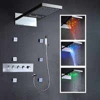 Wholesale 22 quot LED Color Change Thermostatic Waterfall Rain Shower Faucet Massage Jets Hand Shower Lighting Bathroom Shower Head Faucet Set cm x cm