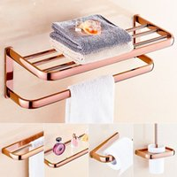 best paper towels - best quality Rose Golden Bath Towel Rack Towel Paper Holder Bar Wall Mounted Brass Glass Shelf Toilet Brush Holder
