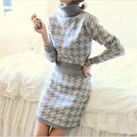 beige turtleneck sweater - Swallow grid slim turtleneck long sleeve houndstooth jacquard half slim hip short skirt set women Loose hot selling sweater dresses