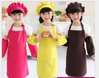 baking sleeve - Apron Hat Sleeve Kids Aprons Pocket Craft Cooking Baking Art Painting Kids Kitchen Dining Bib Children Aprons Kids Aprons colors