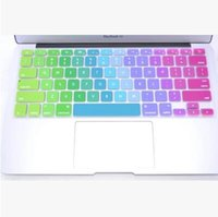 Wholesale Soft Silicone Rainbow keyboard Case Protector Cover Skin For MacBook Pro Air Retina Waterproof Dustproof retail box US Ver