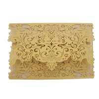 Wholesale Personalized Laser Cut Folded Wedding Invitations Cards With white beige or gold Hollow Flora New Wedding Favors