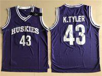 al por mayor película 43-Marlon Wayans Kenny Tyler 43 Huskies Jersey de baloncesto La sexta película de hombre cosido violeta cosida K. Tyler # 43 Huskies baratos jerseys de retroceso