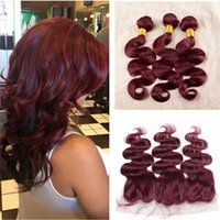 Cheap Brazilian Hair 99j with frontal Best Body Wave 3pcs hair+1-c frontal burgundy hair with frontal