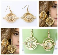 Wholesale Harry Potter Jewelry Earring Time Turner Vintage Retro Rotating Hourglass Drop New Earrings Hermione Granger For Women Gifts