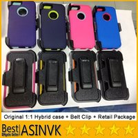 Wholesale Top Quality Original iphone s Shockproof Dual Layer Hybrid Hard PC TPU Case with Belt Clip