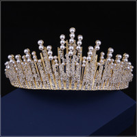 Wholesale crowns tiaras beaded crown headpieces for wedding wedding headpieces headdress for bride dress headdress accessories party accessories