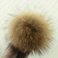 Wholesale cm Real Raccoon fur pom poms ball DIY for hat shoes cap accessorie